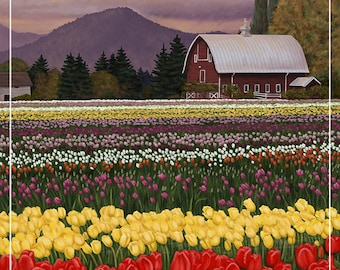 Skagit Valley - Tulip Fields (Art Prints available in multiple sizes)