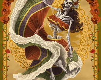 Day of the Dead - Skeleton Dancing (Art Prints available in multiple sizes)