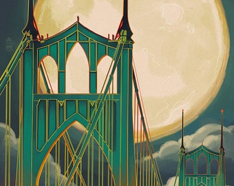 Portland, Oregon - Bridgetown and Full Moon (Art Prints available in multiple sizes)