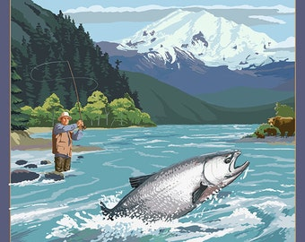Alaska - Salmon Fisherman (Art Prints available in multiple sizes)