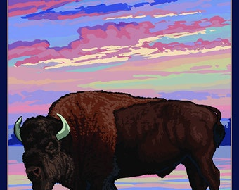 Yellowstone National Park - Bison and Sunset (Art Prints available in multiple sizes)