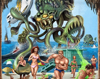 Laguna Beach, California - Alien Attack Horror (Art Prints available in multiple sizes)
