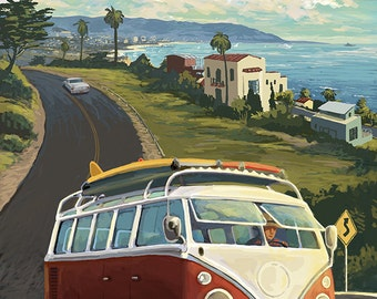 Redondo Beach, California - VW Van Cruise (Art Prints available in multiple sizes)