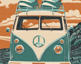 VW Van - Letterpress (Art Prints available in multiple sizes)