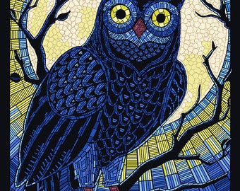 Owl - Paper Mosaic (Art Prints available in multiple sizes)