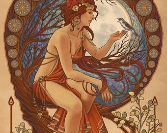 Woman and Bird - Art Nouveau (Art Prints available in multiple sizes)