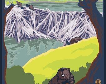 Beaver Family - Salem, Oregon (Art Prints available in multiple sizes)