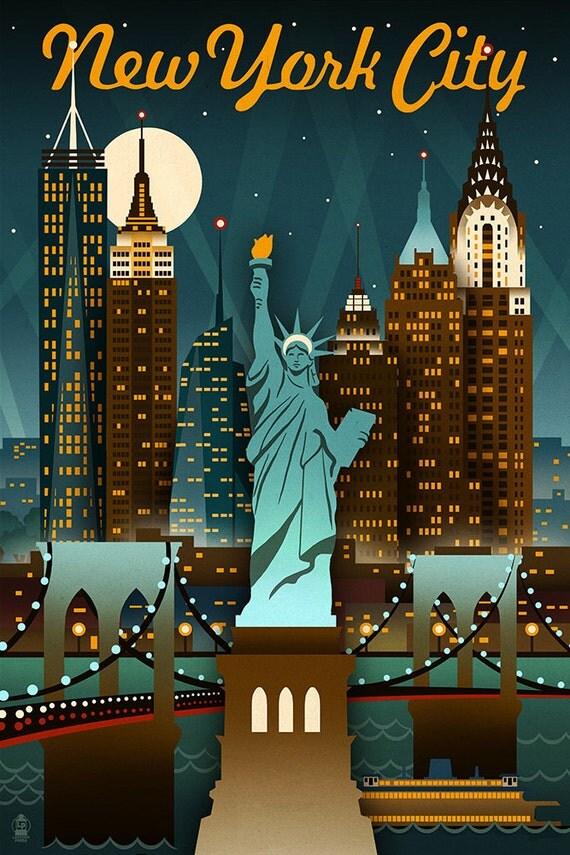 New york city new york retro skyline art prints available for Vintage hotel decor