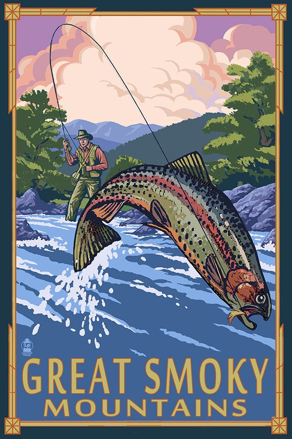 Angler fly fishing scene great smoky mountains art prints for Fly fishing posters