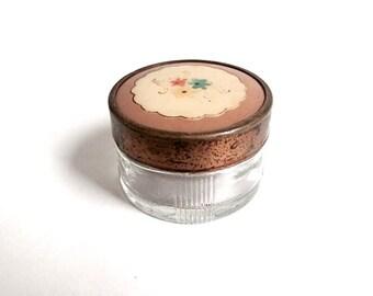 Vintage Powder Jar 1940's Powder Jar Celluloid & Glass Powder Jar Art Deco Powder Jar Vintage Powder Box
