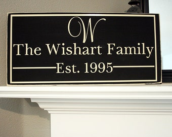 "24x12"" Family Established Date Wood Sign - Great For Wedding & Housewarming Presents! - Family - Home - Home Decor - Entry Way Sign - Name"