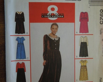 McCalls 8925, Sizes 10-14, petite-able, misses, womens, teens, dress, UNCUT sewing pattern, craft supplies,