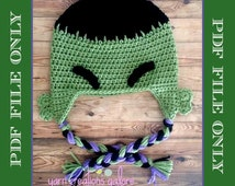 Crochet Hulk Hat Pattern-- PDF FILE ONLY
