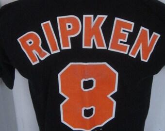 Vintage CAL RIPKEN #8 Baltimore Orioles Baseball Shirt-Collectible Black Tee Shirt-Graphic on Both Front & Back Size Medium