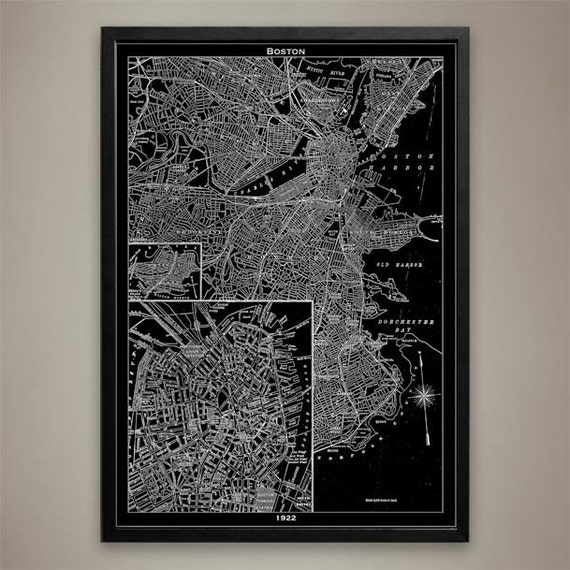 Boston Map Print Black And White Boston Wall Decor