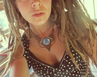 Summernightdream Tribal boho Gipsy Lapislazuli Bohemian makramee necklace