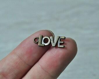 40pcs Antique Bronze Love Charm Pendant Letter Heart 21x8mm K874