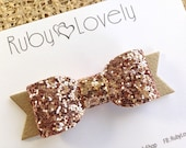 Baby/Girls Fall Bow, Gold Glitter Headband/Clip, Christmas Bow, Fall headband/hair clip, Gold Glitter Bow, Sparkly Bow, Rose Gold Bow