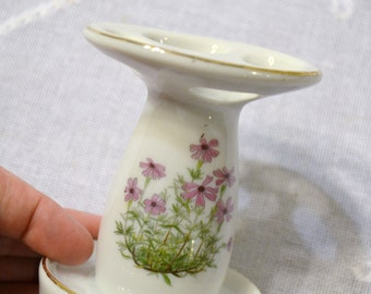 Vintage Toothbrush Holder Porcelain Pink Green Flowers Bathroom Organizer Panchosporch