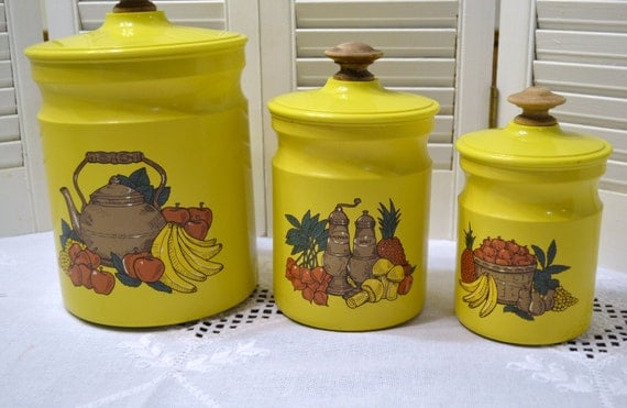 vintage kitchen canister set of 3 kromex yellow fruit theme