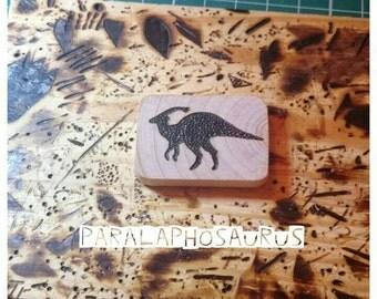 Paralaphosaurus Brooch, Dinosaur Brooch, Wooden Brooch