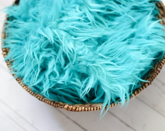 SALE - Turquoise Faux Fur Photography Prop - Soft, Cozy, Cuddly Faux Fur Nest - Perfect Newborn Photography Prop, Stuffer, Filler, Layering