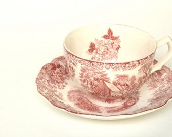 Teacup and Saucer,  Red and White Teacup , Kitchen Decor,  British Teacups, Shabby Chic, Coffee Cup, Wedding Gift