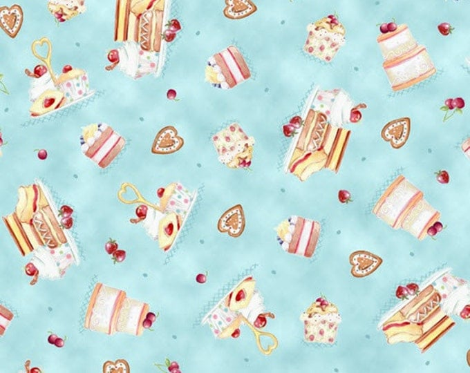 Half Yard Afternoon Delight - Dessert Toss in Dusty Teal - Cotton Quilt Fabric - Helz Cuppleditch for Quilting Treasures - 23352-Q (W2852)