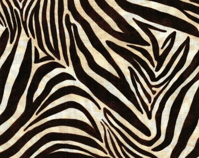 Half Yard Safari - Zebra Stripes in Brown - Cotton Quilt Fabric - by Studio 8 for Quilting Treasures - 22843-A (W2863)