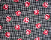 2 1/3 Yards Vtg Cotton Fabric Roses on Black & White