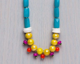 Vivid Colour Long Necklace, Stainless Steel Silver Chain. Summer Colour, yellow, turquoise, fuchsia, orange, green