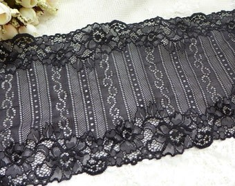 "Black Elastic Lace Trim 6.7"" Wide Lace Strech Fabric Women Lingerie Headbands Gloves DIY Lace"