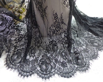 """Black Chantilly Lace Rose Floral Lace Trim Scalloped Edging Lace Fabric 26.8"""" wide Lace 3 Yards"""