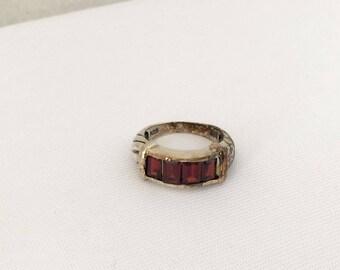 Vintage Sterling Silver Garnet Band Ring Size 8