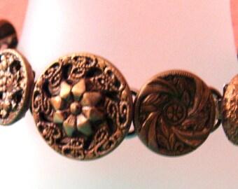 Vintage brass tone buttons bracelet