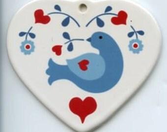 Ceramic Heart Ornament - Scandinavian Folk Art Bluebird #570