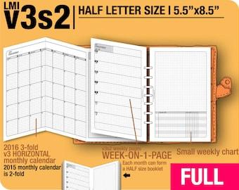 FULL [HALF size v3s2 w/o daily] January to December 2018 -Half Letter Filofax Inserts Printable Binder Planner Midori.