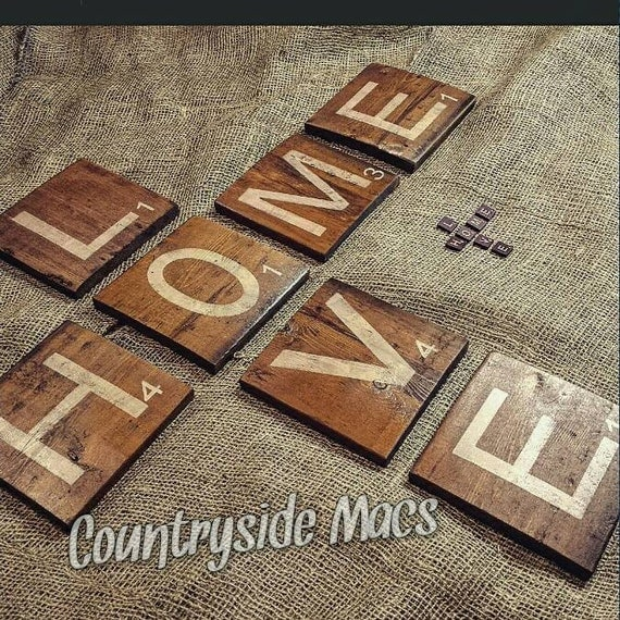 Large Wooden Scrabble Tiles Letters By Countrysidemacs On Etsy