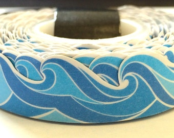 Wave Ocean Die Cut Paper Washi Tape Scrapbooking Decoration Sticker -  30ft/9m