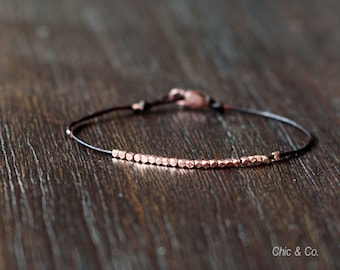 Rose Gold and Leather Bracelet. Gold Beads on Leather Cord. Wish Bracelet. Men's Bracelet.