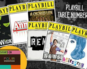 Playbill table cards -- Digital or Printed option