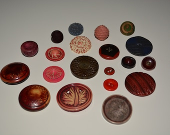 Antique Buttons Mixed lot of 20 Leather Bakelite Wood Celluloid