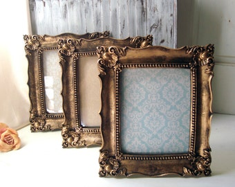 Antique Gold Vintage Style Ornate  Frame with Glass Backing Shabby Chic Distressed Gold Frame  Wedding Frame  8 x 10 Picture Frame