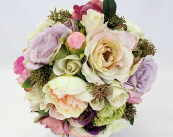 Vintage Style Pastel Bridal Bouquet with Peonies and Roses
