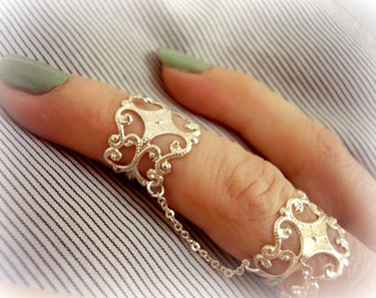 Silver slave ring Armor ring Boho ring set Adjustable silver full finger ring Double ring connected  chain rings  Statement armor ring