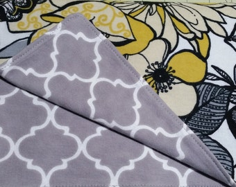 Yellow Floral Flannel Baby Blanket