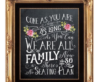 chalkboard wedding sign, printable wedding sign, come as you are sign, digital wedding sign, we are all family sign, 8x10, instant download