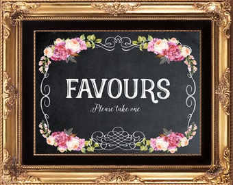 digital favours sign, printable favours sign, candy buffet sign, chalkboard favours sign, 8 x 10, you print
