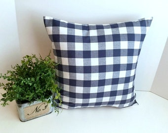 """16 x 16  1"""" Navy blue and White check envelope style pillow cover."""
