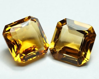 Citrine 14mm Square Octagon 2 pieces